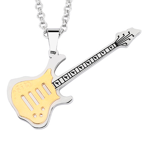 Кулон на шею серебристая гитара из стали
