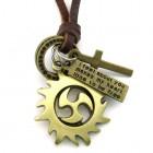 Кулон в виде солнца, крестика и жетона с надписью на кожаном шнурке