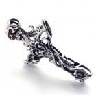 Кулон в виде красивого креста в ножнах с черепом из стали