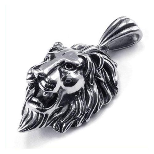 Кулон в виде большой головы льва, открывшей пасть