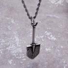 Стальной кулон на шею в виде лопаты с цепочкой 50 см