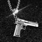 Кулон-пистолет из стали с цепочкой