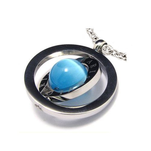 "Кулон ""Saturn"" из стали и синего пластика с цепочкой"