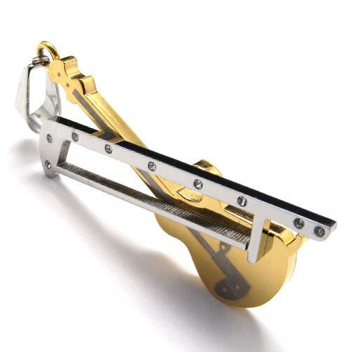 Стильный кулон в виде скрипки и смычка с стразами