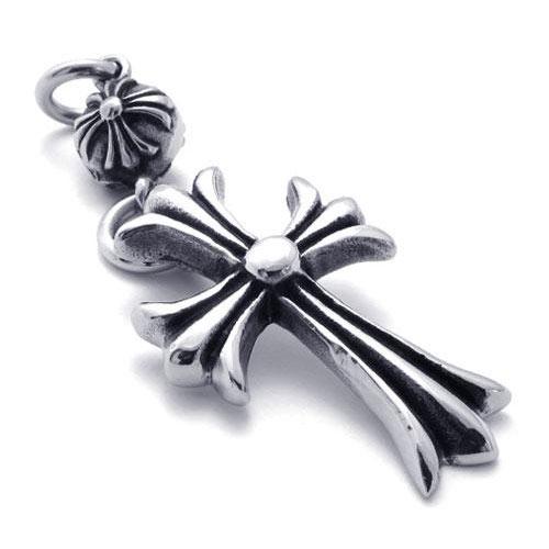 Мужской стильный кулон в виде двух последовательных крестов