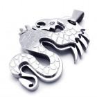 Отполированный кулон с яркой чешуей - стальной дракон на шею для мужчин