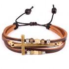Стильный браслет с коричневыми полосками и крестом со втулками
