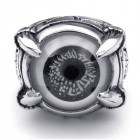 Стильное кольцо мужское в виде глаза серого цвета