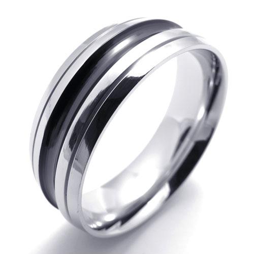 Кольцо мужское классическое с черной полосой