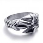 Мужское тонкое кольцо с когтями орла из стали