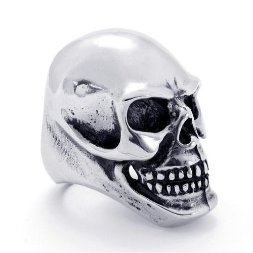 Брутальное кольцо - огромный череп из стали