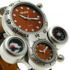 Стильные большие мужские наручные кварцевые часы в коричневом исполнении