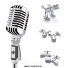 Стильные ретро-запонки в виде старинного эстрадного микрофона