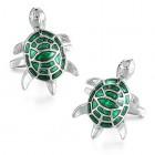 Мужские запонки в виде зеленых милых черепашек