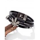 Черный кожаный браслет Cannabis 20 см