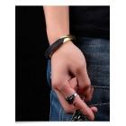 Черный каучуковый браслет с серебристой или золотистой плашкой