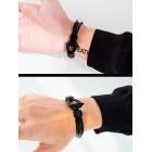 Стильный минималистичный браслет в виде черных гладких тросиков из экокожи