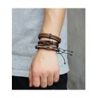 Пять браслетов из натуральной кожи различной фактуры и пеньковой веревки