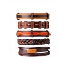 Стильный сет из пяти коричнево-рыжих кожаных браслетов