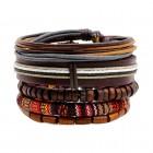Комплект из пяти браслетов из дерева и кожи с этническим принтом