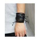 Комплект из пяти черных кожаных браслетов на завязках