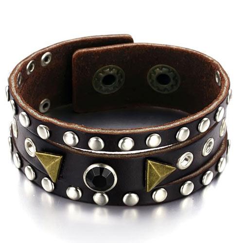 Коричневый браслет из телячьей кожи с металлическими вставками и черным камнем