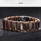 Браслет из натуральной коричневой кожи и стильным магнитным замком