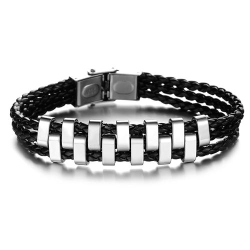 Мужской браслет 20 см из трех жгутов кожи и стальных втулок чередующихся словно шашечки