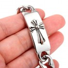 Браслет стальной - цепочка с крестом на плашке и стильным замочком