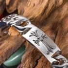 Стальной браслет в виде цепочки с тремя плашками с красивыми крестами