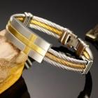 Мужской браслет 19 см на тросах с плашкой и золотым покрытием