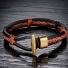 Браслет тонкий кожаный из трех жгутов, соединенных вощеными нитками