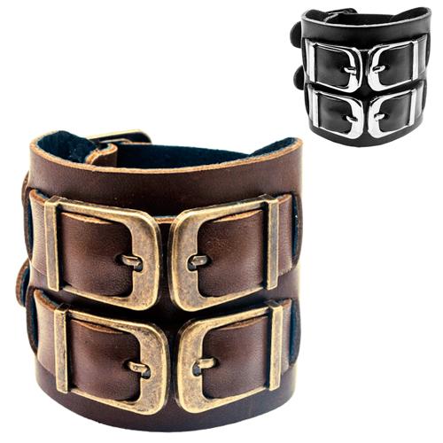 Приятный на ощупь браслет кожаный 6 см шириной