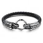 Стильный браслет в виде голов дракона и кольца посередине