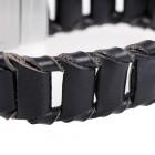 Элегантный мужской браслет из пластинок натуральной кожи черного цвета