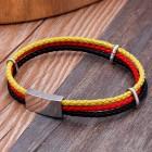 Браслет из трех жгутов - желтого, красного, черного