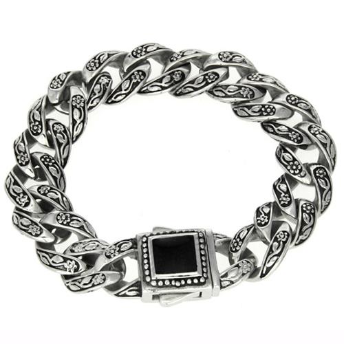 Мужской браслет-цепочка с черным коробчатым замком