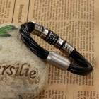 Красивый кожаный браслет с втулками на магнитном замке