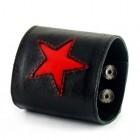 Мужской браслет из черного полотна кожи и красной звездой посередине