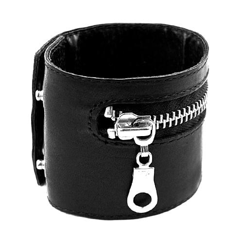 Стильный браслет Lock Zipper на руку из кожи с внутренним кармашком