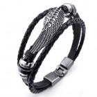 Кожаный браслет из трех жгутов с крылом птицы и стильными втулками по сторонам