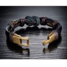 Стильный браслет узелок для мужчин из кожи с интересным замком
