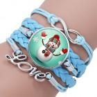 Голубой кожаный браслет с новогодним снеговиком