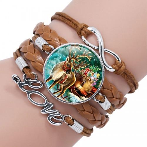 Коричневый кожаный браслет с рождественским оленем