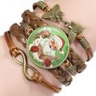 Коричневый кожаный браслет с новогодним Санта Клаусом