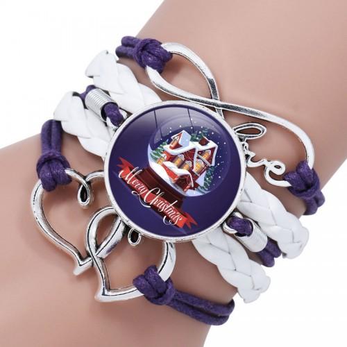 Фиолетово-белый браслет с рождественским домом