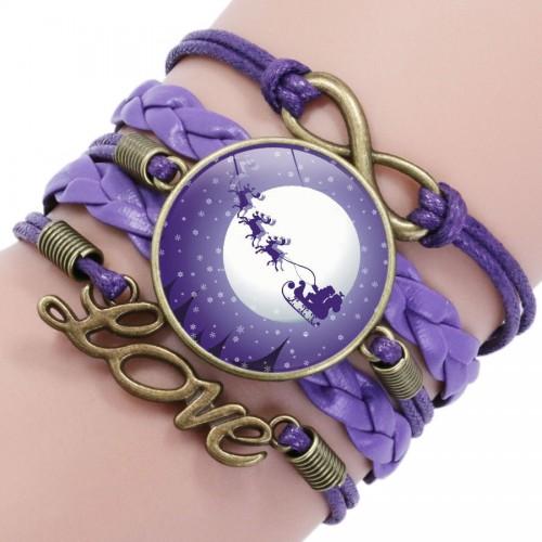 Фиолетовый браслет с рождественскими оленями с санями