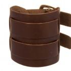 Коричневый браслет-напульсник из мягкой натуральной кожи