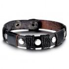 Браслет кожаный черный с пятью заклепками из нержавеющей стали и вощеными жгутами поперек