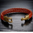Мужской коричневый браслет из трех жгутов